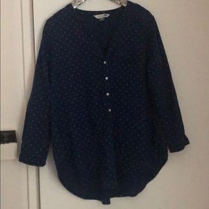 Old Navy Navy and White Polka Dot Tunic XL